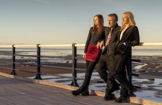 Tin Star: Liverpool - Pictured, Tim Roth,Genevieve O'Reilly and Abigail Lawrie on Southport Pier