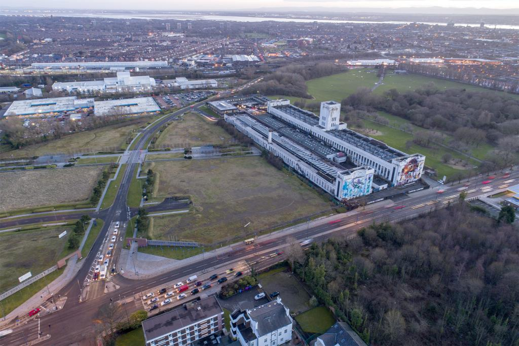 Aerial photo of the Littlewoods Film Studios Site